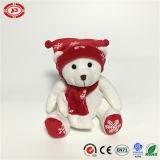Brinquedo feito sob encomenda de assento do Ce do Xmas do urso branco da peluche do presente do Xmas