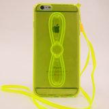 Cas transparent de téléphone cellulaire de TPU avec le support (XSDD-057)