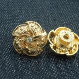Кристалл Rhinestone золота способа извлекает кнопку джинсовой ткани