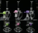 Tubulação de água de fumo de vidro do tabaco o mais novo cor-de-rosa maravilhoso do reciclador da cor