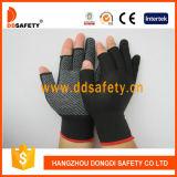 Le PVC blanc d'interpréteur de commandes interactif noir de Nlyon pointille les gants fonctionnants Dkp528 de demi de coton sans joint de doigt