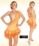 Jupe latine de pratique en matière de robe de danse de paragraphe sexy de dames, personnalisée
