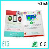 4.3 pulgadas de la tarjeta de felicitación de la invitación de la promoción de negocios LCD de video Folleto