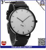 Relógio feito sob encomenda dos homens do preto minimalista cheio do relógio da planície da cinta de couro de grão Yxl-851