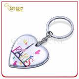 Cadeau promotionnel en alliage de zinc imprimé par coutume d'indicateur de clé en métal de coeur
