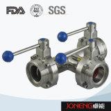 الفولاذ المقاوم للصدأ الصحية ذات حواف نهاية 3 قطعة صمام فراشة (JN-BV3001)