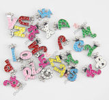 Children Fashion Jewelry (JP08-008)를 위한 합금 Metal Colorful Initial Letters Slide Charm Beads