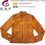 Chaqueta anaranjada del tinte de la ropa de la alta calidad de la PU de las señoras