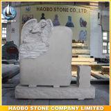 Mano di marmo beige del Headstone di angelo intagliata