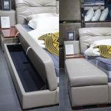 Muebles gemelos estándar del dormitorio del cuero genuino del tamaño