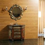 Governo di stanza da bagno antico di legno solido di stile con lo specchio
