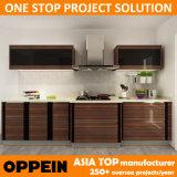 Oppein Projekt-hölzernes Korn Belüftung-modularer Küche-Schrank (OP14-PVC02)