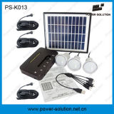 Mini sistema solar Home do diodo emissor de luz com o carregador do painel solar de 11V 4W e do telefone do USB (PS-K013)