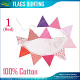 String (M-NF11F19023)에 빨간 Riangle Banner Cotton Bunting Flags