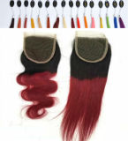 "22 ""レースClosureブラウンVirgin Hair Ombre Color 2tone/3tone"