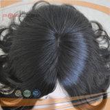 Perruque de lacet attachée première par main de couleur de peau de cheveux humains de couches avec du charme noire pleine