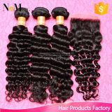 漂白される閉鎖が付いているバージンの毛のペルーの深い波は7A等級100%の閉鎖の部分との加工されていない人間の毛髪の拡張を結ぶ