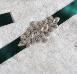 Bunter Rhinestone-Kristallsatinbowknot-Hochzeits-Bund-Riemen