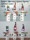 Iluminando o empilhamento acima da decoração do Natal do diodo emissor de luz da cabeça do boneco de neve