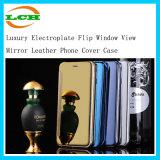 Luxus galvanisiert Kippen-Fenster-Ansicht-Spiegel-Leder-Telefon-Deckel-Kasten