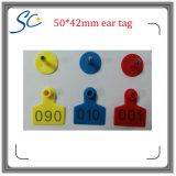 50*42mmのレーザープリンターによる印刷番号家畜IDのための動物の耳札