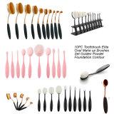 Kit de herramientas de maquillaje de forma de cepillo de dientes de color arco iris 10PCS Oval Brush