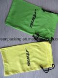 Bolsa/bolso de Microfiber en color amarillo y verde con insignia negra