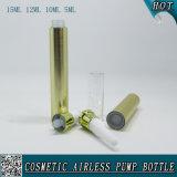 Botella privada de aire cosmética plástica de la bomba del oro para la botella de la crema del ojo