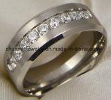Shineme Schmucksache-Edelstahl-Qualitätzircon-Titan-Ring