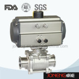 Válvula de esfera pneumática sanitária de três maneiras do aço inoxidável com interruptor de limite (JN-BLV2002)