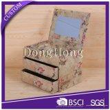 Caja de joyería con bisagras Espejo decorativo de cartón Craft con cajones