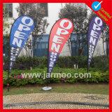 Im Freienteardrop-Strand-Markierungsfahnen mit Firmenzeichen druckten für das Bekanntmachen
