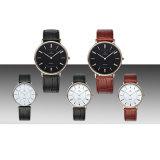 Qualitäts-einfache Art-Japan-Quarz-Bewegungluxuxmens-Uhr-echte lederne Brücke-Armbanduhren 72332