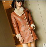 Capa y abrigo de pieles verdaderos de Shearling del invierno para señora Long Style