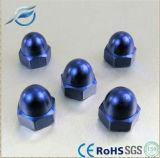 Écrous borgnes Hex bleus de dôme d'acier inoxydable de couleur