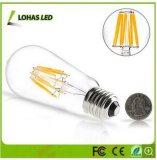 Blanco caliente de la luz de bulbo del filamento de Dimmable Edison LED con la decoración retra de 2W 4W 6W 8W
