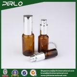 Янтарные стеклянные бутылки с серебряными насосом и крышкой