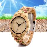 Montre en bois de quartz en bois en bambou de la montre des femmes de Mens de mode avec votre propre marque 72189