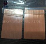 Bronzefarbiger PVD Edelstahl-Dekor-Blatt-Platten-Haarstrichsatin trug auf