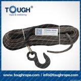 Corda sintetica dell'argano del nero 7mmx30m UHMWPE impostata per l'argano 4X4