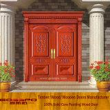 Puerta de madera exterior delantera de la puerta doble de la entrada (XS1-001)
