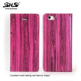 新しい流行の木製のしわパターンPUの札入れデザインのiPhone 7のための革携帯電話の箱