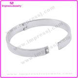 Bracelet blanc ouvrable solide de manchette de l'acier inoxydable des hommes de femmes de mode