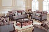 アメリカファブリックソファーの骨董品愛シートの椅子の古典的な表は居間のための木フレームとセットした