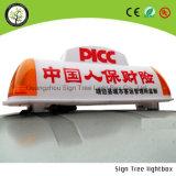 Коробка знака верхней части таксомотора напольный рекламировать СИД светлая
