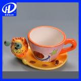 Кружка кофеего молока чая чашки новой печати коровы шаржа керамическая с крышкой & ложкой