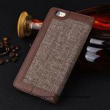 Случай Flip кожи iPhone аргументы за мобильного телефона клетки бумажника PU Linen ткани