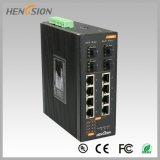 Porta de 8 pontos de entrada e interruptor de rede 4 industrial controlado combinado