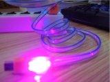 LED que enciende el cable micro del USB para el teléfono móvil androide