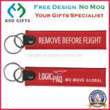 Nach Maß vor Flug-Stickerei-Schlüsselkette mit Metallhaken entfernen